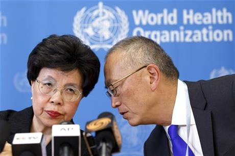 Director General of the World Health Organization, WHO, China's Margaret Chan and Assistant Director General for Health Security Keiji Fukuda of the US