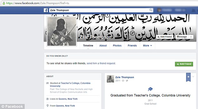 Zale Thompson's Facebook page