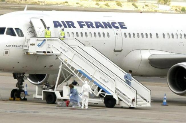 163 people were on board the Air France plane which arrived in Madrid from Paris