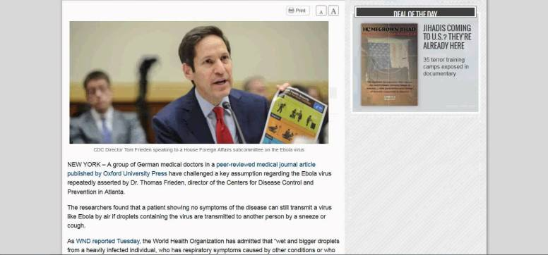 CDC Director Tom Frieden speaking to a House Foreign Affairs subcommittee on the Ebola virus