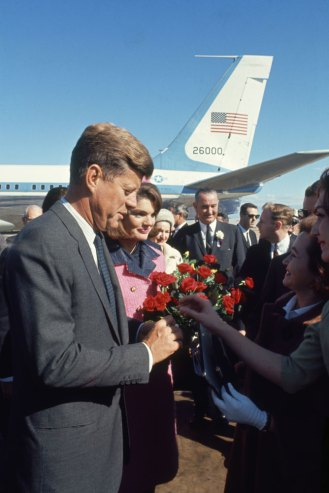 John and Jackie Kennedy at Love Field in Dallas, Texas, on Nov. 22, 1963