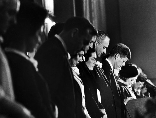 President John Kennedy, Jackie Kennedy, Vice President Lyndon Johnson and others at a Chamber of Commerce breakfast in Fort Worth, Texas, Nov. 22, 1963.