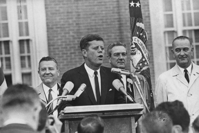 President John Kennedy delivers a brief speech, and his last outside the Hotel Texas in Fort Worth, Nov. 22, 1963, shortly before flying to Dallas.