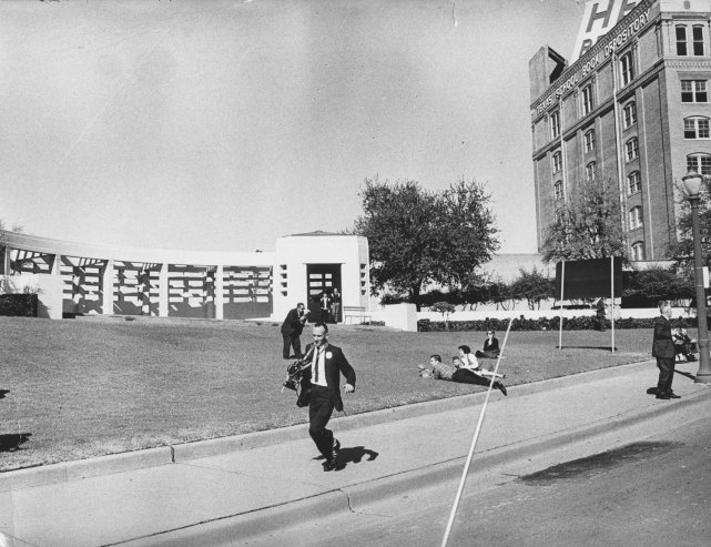The scene at Dealey Plaza in Dallas in the moments after John Kennedy was shot, Nov. 22, 1963