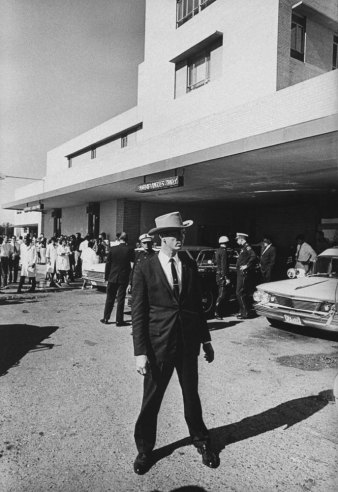 Outside Parkland Memorial Hospital, Dallas, Texas, Nov. 22, 1963, where JFK was pronounced dead at 1 p.m. in the afternoon, half an hour after being shot.
