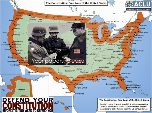 The US constitution does NOT protect you if you live in the orange part, 83% of the USA's 4.6 Million people live in the ORANGE!