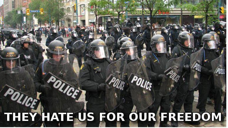 """The USA is not Free!! America time to stop the bullshit and start listening to what EVERYONE ELSE is telling you! Google or You Tube """"Police State USA"""" You will be shocked"""