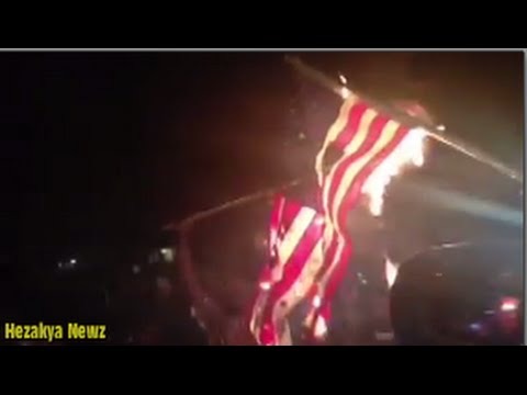 AMERICANS BURNING THE AMERICAN FLAG