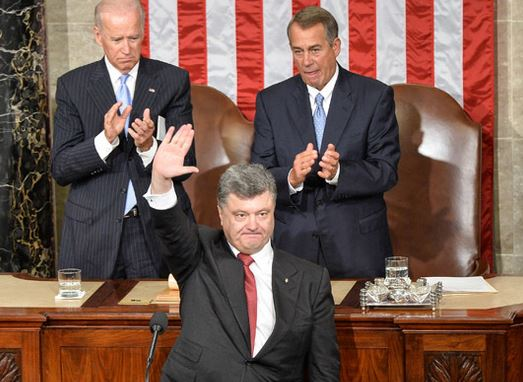 Sept. 18, 2014: NeoFascist Ukrainian President Petro Poroshenko addresses a joint session of the US Congress
