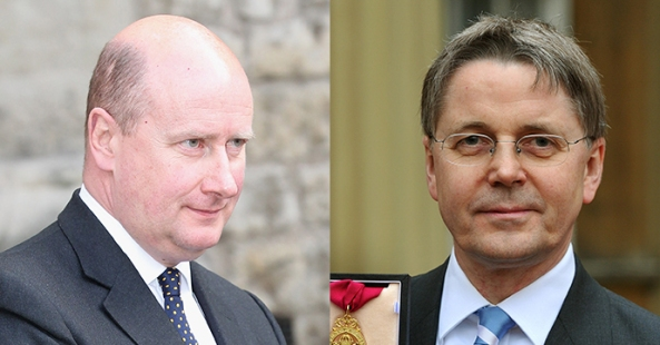 Britain's cabinet secretary Sir Jeremy Heywood (R), and the Queen's private secretary Sir Christopher Geidt (L)