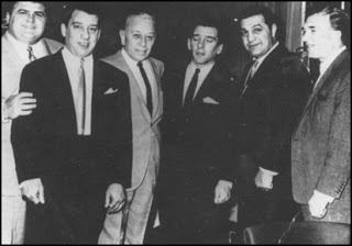 Eddie Pucci (Frank Sinatras Bodyguard), Ronnie Kray, George Raft, Reggie Kray, Rocky Marciano and Charlie Kray (Older Brother of the Kray Twins)