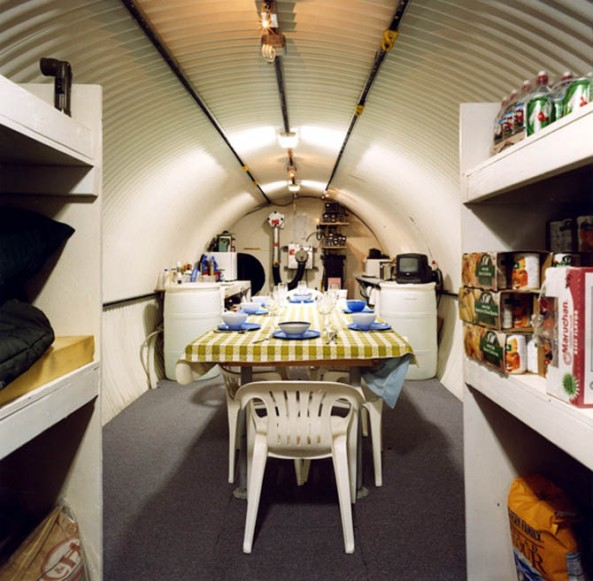 contemporary-dining-room-bomb-shelter