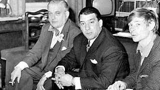Churchill's close friend Lord Boothby with top gangster Ronnie Kray, centre, who reportedly supplied boys to the elite.