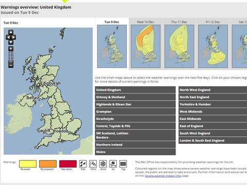 The Met Office has issued amber, yellow  and red warnings