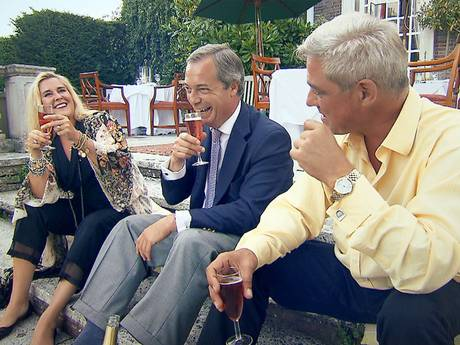 """Nigel Farage enjoys one of 'five or six' glasses of wine with Steph and Dom Parker (Channel 4)      2K PRINT A A A He once claimed his EU salary and expenses were worth £250,000 a year. His wife is also on the Brussels payroll, earning more than £30,000 a year. But Ukip's leader, Nigel Farage, has now claimed the couple are """"poor"""". Mr Farage, who has been an MEP since 1999, initially described his role in the European Parliament as """"a good job"""" after he was first elected. He claimed that if he had been working for Goldman Sachs he would need to earn £250,000 to match what the EU paid him because of taxation, secretarial allowances and """"all the other games you could play"""". So with his own fiscal evaluation meaning he must have earned the equivalent of £3.75m over the past 15 years, his claim in a new Channel 4 documentary about the couple's wealth – that """"I don't know anybody in politics as poor as we are"""" – is rather surprising. Mr Farage, who in August was selected by Ukip to contest the South Thanet seat in Kent at next year's general election, has a starring role in the new show alongside Steph and Dom Parker from Channel 4 favourite Gogglebox, the observational documentary that features families and couples watching television shows in their own homes. Nigel Farage enjoys one of 'five or six' glasses of wine with Steph and Dom Parker Nigel Farage enjoys one of 'five or six' glasses of wine with Steph and Dom Parker (Channel 4)"""