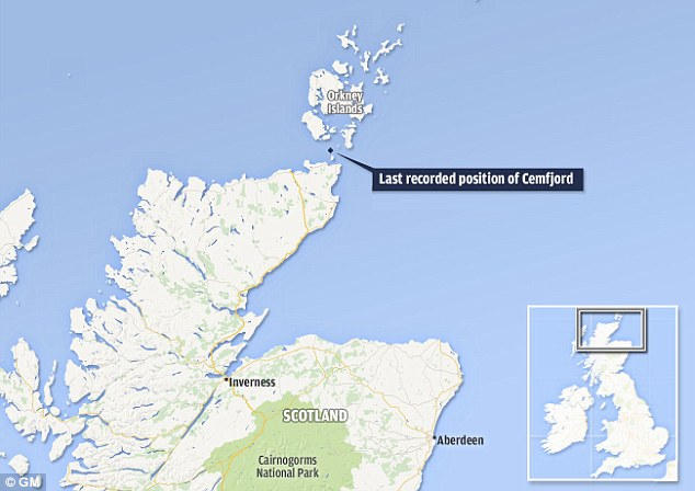 The Cemfjord was drifting at 5.2 knots, roughly 6 mph, according to readings recorded yesterday