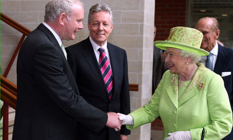 Martin McGuinness, politician for Sinn Fein and the Queen give peace a chance and probably in the end saved thousands of lives - I am speculating. I have family, the 'Casey's' Did they want peace? You would have to ask them